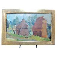 Italian Artist Desiderio TANFANI Haystacks PAGLIAL Gilt Frame Oil Painting