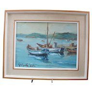 "Ottone GRISELLI Fishing Boats ""PESCHERECCIO at Muggia"" Italy Oil Painting"
