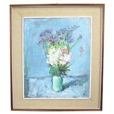 Mario BUCCI Italian Modernist FLOWERS in Vase Still Life Oil Painting