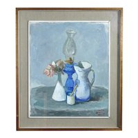 Mario BUCCI Italian Modernist FLOWER Oil Lamp Still Life Oil Painting