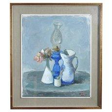Mario BUCCI Italian Modernist FLOWER Oil Lamp Still Life Oil Painting