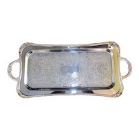 """NEIMAN MARCUS Silverplated Shell & Gadroon Reed & Barton 25"""" Cocktail Tray"""