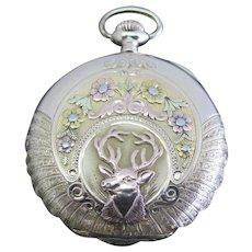 ILLINOIS c1925 21 Jewel 14k 3 Tone Gold HUNTER Elk Case Pocket Watch