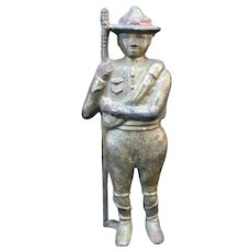 Antique AC WILLIAMS Cast Iron BOY SCOUT Trooper Soldier Still Bank