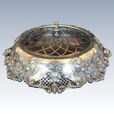REDLICH Antique STERLING Silver ART NOUVEAU Large Centerpiece Bowl w/Liner & Lid