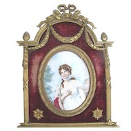 Antique 19th Century QUEEN LOUISE of PRUSSIA Miniature Hand Painted Portrait GILT Frame