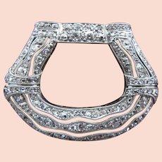 Vintage EDWARDIAN Old European Mine Cut Diamond PLATINUM 14k Gold Dress Shoe Clip