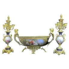 Antique Bleu-de-Roi 3pc Gold Gilt GARNITURE Handpainted Center Bowl Candelabra