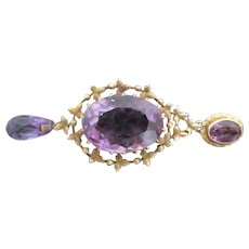 VICTORIAN Style 14k Yellow Gold Briolette AMETHYST 3 Tier Drop Necklace Pendant