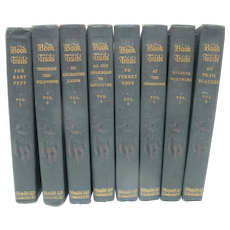 Book Trails 1928 Children's Set Volume 1 -8 Green Embossed Cover