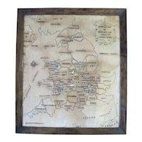 Antique c1781 FRAMED Needlework Sampler General MAP of England & Wales by Amelia