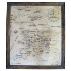 Antique c1781 FRAMED Needlework Sampler General MAP of England & Wales by Amelia
