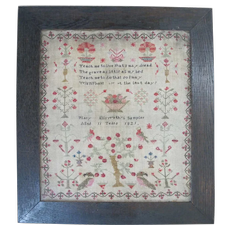 Antique c1821 NEEDLEWORK Sampler LIFE & DEATH Poem by 11 Year Old Mary Ellsworth