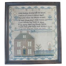 Antique 19thc NEEDLEWORK Sampler DEATH Poem Home Heart & Flower Framed