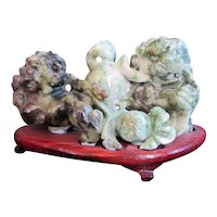 Chinese Carved JADE Guardian Lion FOO DOG Statue Sculpture on Wood Stand