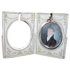 Antique 18th Century Miniature PORTRAIT Painting of Young Man in Carrying CASE