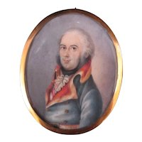 Antique 18th Century Miniature PORTRAIT Male Painting of GERMAN Military Officer