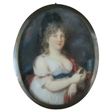 18th Century Miniature Female Poet PORTRAIT Madame De GRABOW German SAPPHO