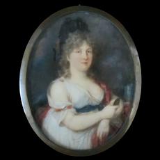 18th Century Miniature Female Poet PORTRAIT Madame De GRABOW German SAPPHO