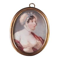 C1800 Century Miniature Female Painting PORTRAIT of WOMAN In Bonnet w/Blue Bow