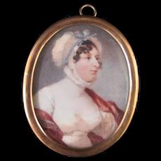 C1800 Century Miniature Female Painting PORTRAIT of WOMAN In Bonnet w/Blue Bow