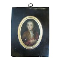 Antique 18th Century Miniature Painting PORTRAIT of Young MAN on Wood