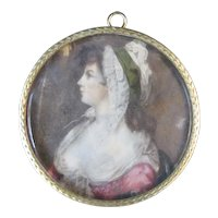 18th Century Miniature Painting Portrait ST GILES BEAUTY Elizabeth Burrough