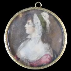 18th Century Miniature Painting Portrait ST GILES BEAUTY Elizabeth Burrough