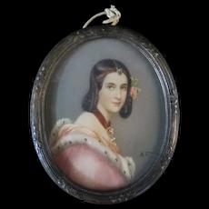 Antique Miniature PORTRAIT Elegant Young Woman in ERMINE Trim Gown Signed