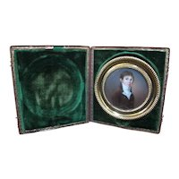Antique 18th Century Miniature PORTRAIT of YOUNG MAN Boy in Green Velvet Case
