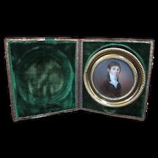 Antique 18th Century Miniature PORTRAIT of YOUNG MAN Boy in Green Velvet Case