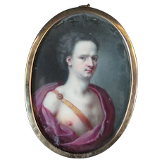 Antique 18th Century PORTRAIT Painting of Virile YOUNG MAN Purple Grecian Robe