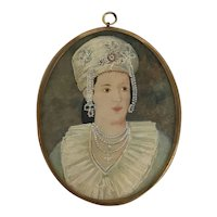 Antique 19th Century PORTRAIT Miniature of Chic Woman w/Elaborate Headdress Pearls Collar