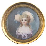 Antique FINELY DETAILED Hand Painted Portrait Miniature Distinguished Woman w/Large Hat