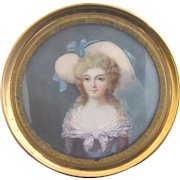 Antique FINELY DETAILED Hand Painted Portrait Miniature Distinguished Woman w/Large Hat
