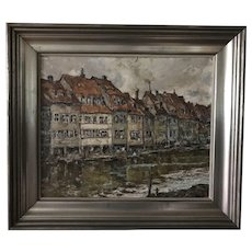 Signed Framed WILHELM BLANKE OIl Painting Scene of Bamberg GERMANY