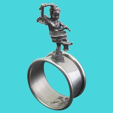 VICTORIAN Antique Silver Plate CHERUB Drummer Napkin Ring Holder