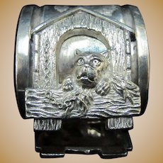 VICTORIAN Antique Silver Plate Napkin Ring Holder w/DOG in House
