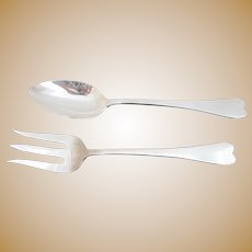 REED & BARTON Silver Plate 2pc Heart Shape Serving Fork & Spoon Set No Mono