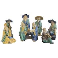 Hand Painted Set of 7 CHINESE Asian MUDMAN Miniature Figurine