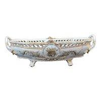 "Antique GERMAN Porcelain Reticulated 20"" Centerpiece GOLD Gilt Bowl w/Handles"