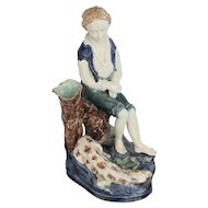 Late 1800's Figural Majolica of a Boy & His Dog Titled POOR SHEP is DEAD Vase