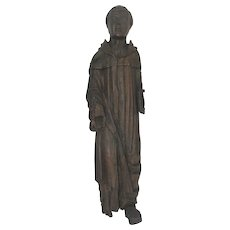 17th Century Santos Religious Icon Carving Saint Spanish Figural Wall Hanging