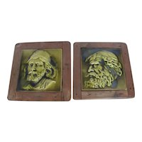 Antique c1890 Set of 2 English Wood Framed Unique Raised Figural Pottery Tiles