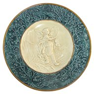 "SCHUTZ CILLI Green MAJOLICA Decorative Wall Plaque 19"" Plate CHERUB Riding Lion"