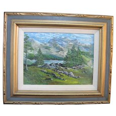 Signed RICHARD THOMAS NIEHS 1969 Lake Mountain Landscape Painting