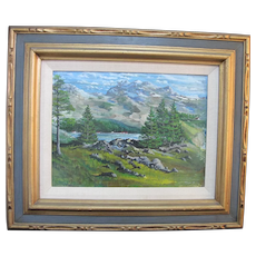 Signed RICHARD THOMAS NIEHS 1969 Lake Mountain Landscape Painting
