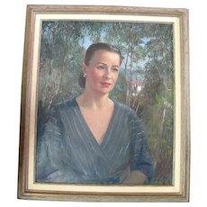 Peter Ellenshaw Original Portrait Painting of Elmo Williams Wife Lorraine