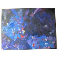Signed Original Modern ABSTRACT Mixed Media Art Painting SECRET by Pacific NW Artist Leon Lowman