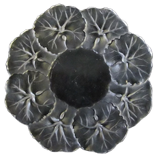 """LALIQUE France GERANIUM Leaf Frosted Crystal Glass Plate Dish 5 3/4"""""""